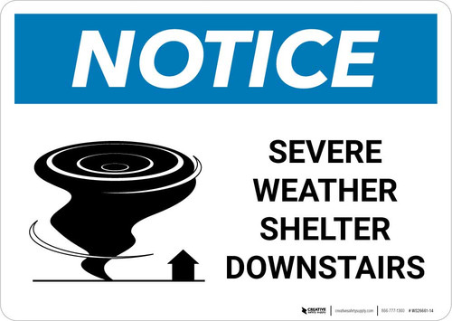 Notice: Severe Weather Shelter Downstairs with Icon Landscape