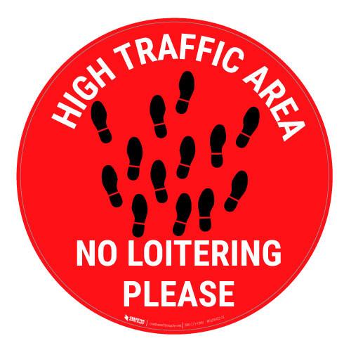High Traffic Area - No Loitering - Red - Floor Sign