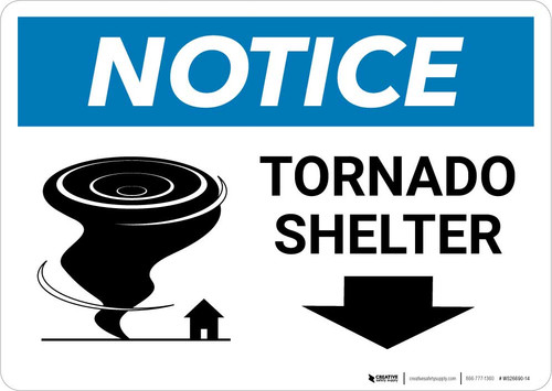 Notice: Tornado Shelter Left Arrow with Icon Landscape