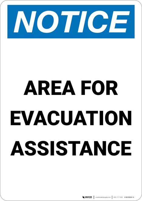 Notice: Area For Evacuation Assistance Portrait
