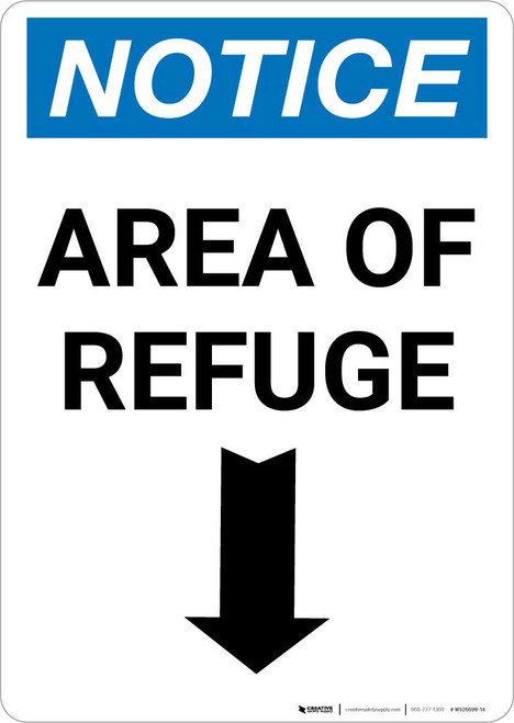 Notice: Area of Refuge Down Arrow Portrait