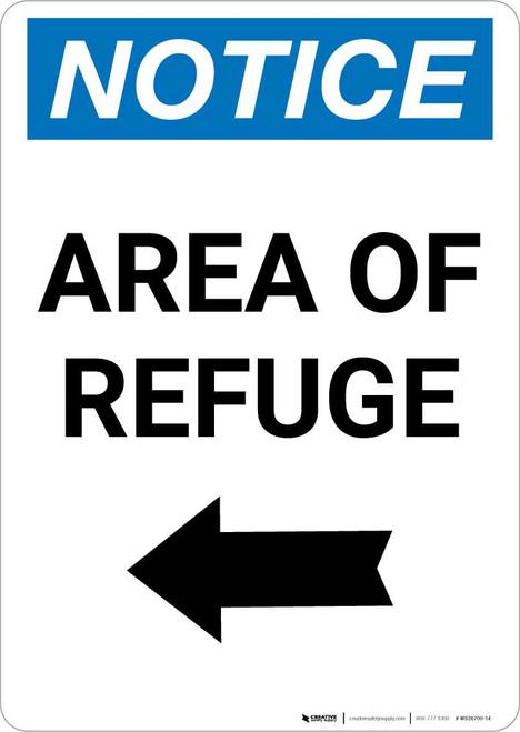Notice: Area of Refuge Left Arrow Portrait