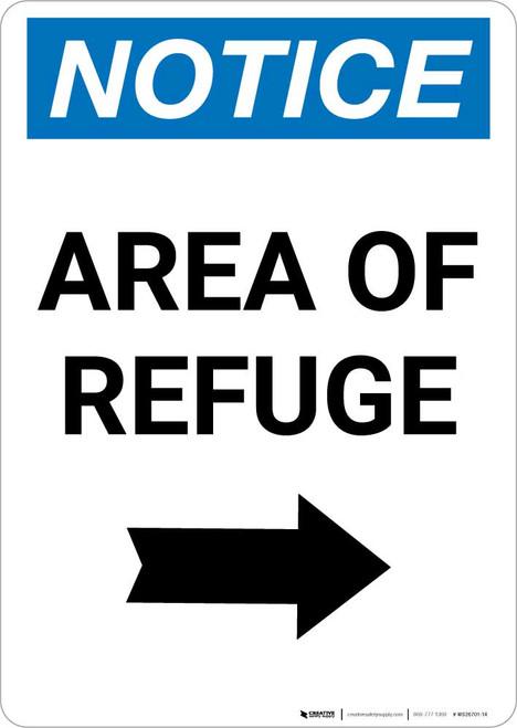 Notice: Area of Refuge Right Arrow Portrait