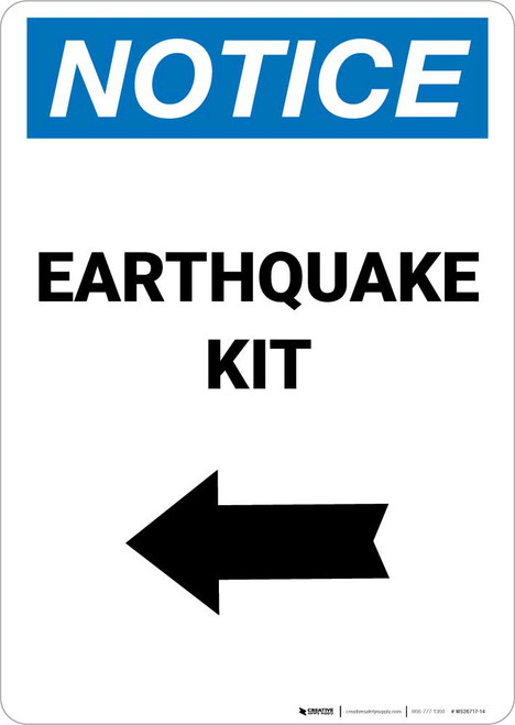 Notice: Earthquake Kit with Left Arrow Portrait
