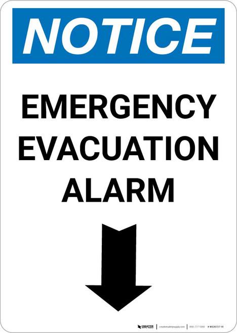 Notice: Emergency Evacuation Alarm with Down Arrow Portrait