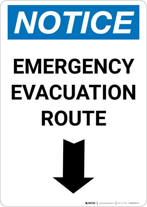 Notice: Emergency Evacuation Route with Down Arrow Portrait