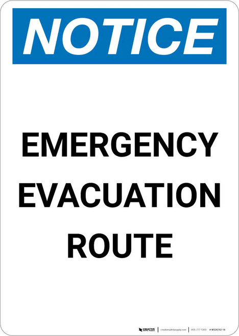 Notice: Emergency Evacuation Route Portrait