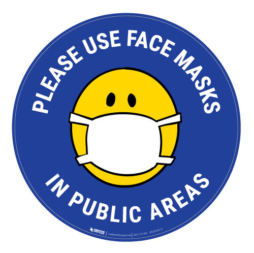Please Use Face Masks In Public Areas with Facemask Emoji - Blue  - Floor Sign