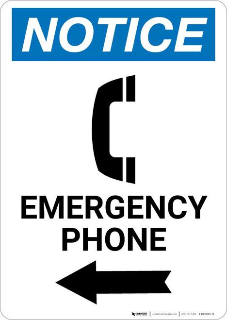 Notice: Emergency Phone Left Arrow with Icon Portrait