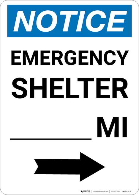 Notice: Emergency Shelter Mile Right Arrow Portrait