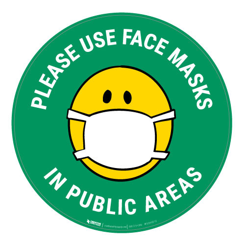 Please Use Face Masks In Public Areas with Facemask Emoji - Green - Floor Sign
