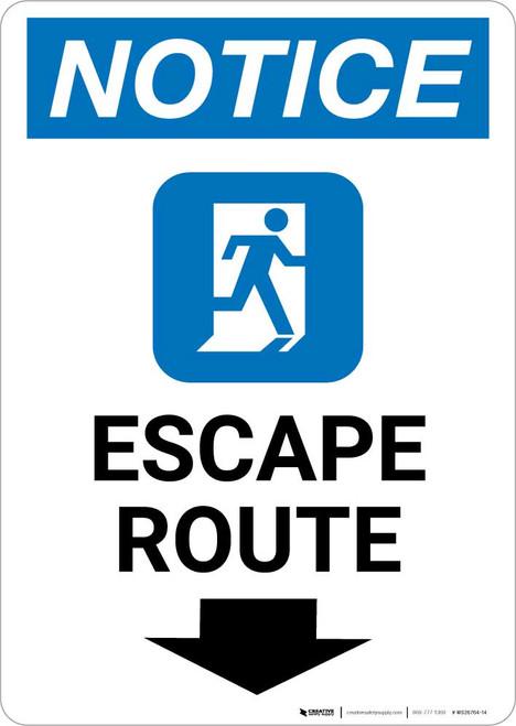 Notice: Escape Route Down Arrow with Icon Portrait