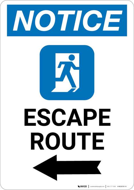 Notice: Escape Route Left Arrow with Icon Portrait