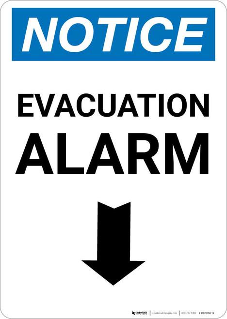Notice: Evacuation Alarm Down Arrow Portrait