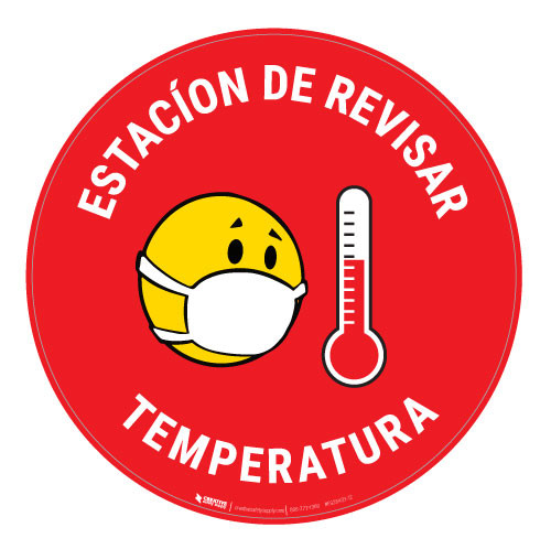 Estacion de Revisar Temperatura with Facemask Emoji Spanish - Red  - Floor Sign