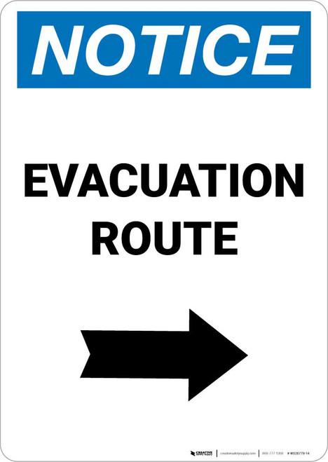 Notice: Evacuation Route Right Arrow Portrait