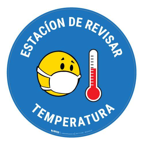 Estacion de Revisar Temperatura with Facemask Emoji Spanish - Blue - Floor Sign