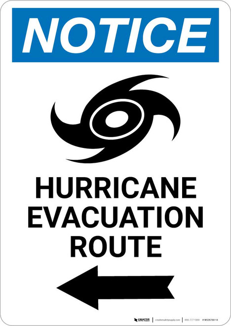 Notice: Hurricane Evacuation Route Left Arrow with Icon Portrait