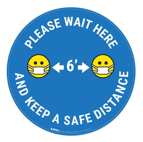 Please Wait Here Keep a Safe Distance with Facemask Emoji - Blue  - Floor Sign