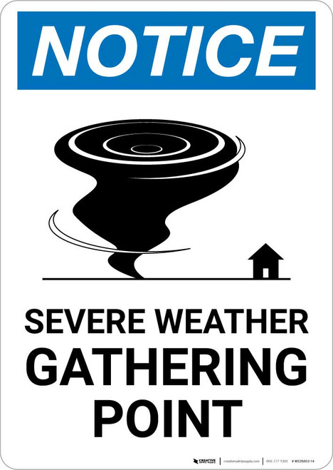 Notice: Severe Weather Gathering Point with Icon Portrait