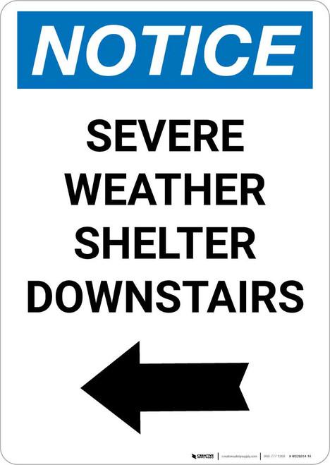Notice: Severe Weather Shelter Downstairs Left Arrow Portrait