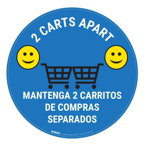 2 Carts Apart with Emojis Bilingual - Blue - Floor Sign