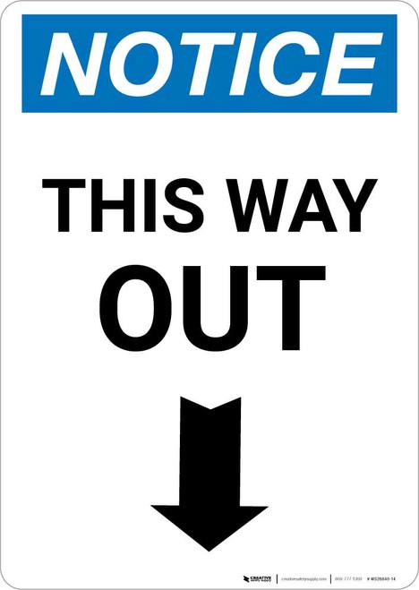 Notice: This Way Out Left Arrow Portrait