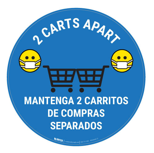 2 Carts Apart with Facemask Emojis Bilingual - Blue - Floor Sign