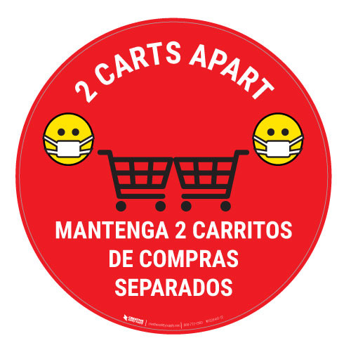 2 Carts Apart with Facemask Emojis Bilingual - Red - Floor Sign