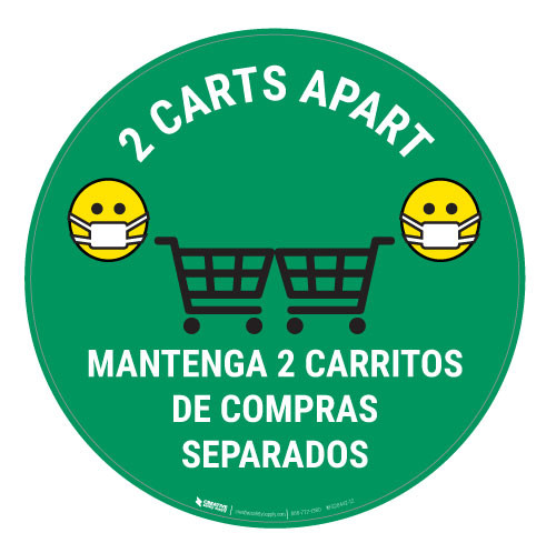 2 Carts Apart with Facemask Emojis Bilingual - Green - Floor Sign
