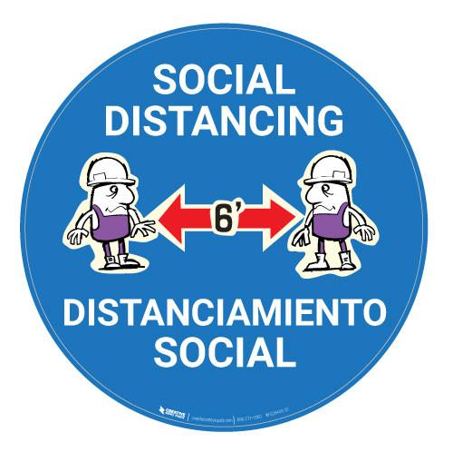 Socal Distancing with Cartoon Bilingual - Blue - Floor Sign