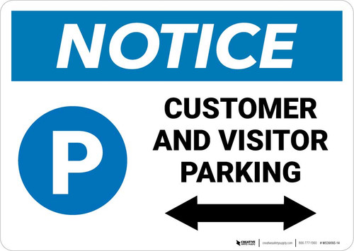 Notice: Customer And Visitor Parking Bidirectional Arrow Landscape