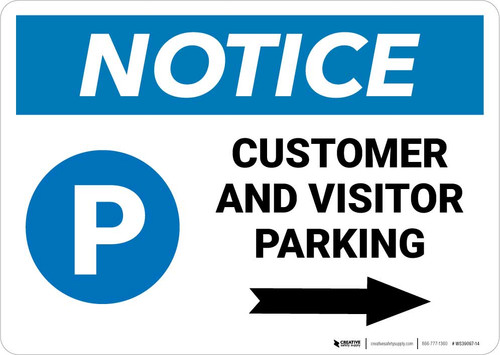 Notice: Customer And Visitor Parking with Right Arrow Landscape