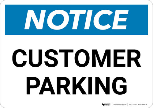 Notice: Customer Parking Landscape