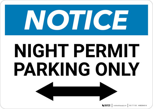 Notice: Night Permit Parking Only with Bi-directional Arrow Landscape