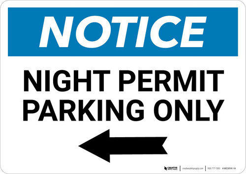 Notice: Night Permit Parking Only with Left Arrow Landscape