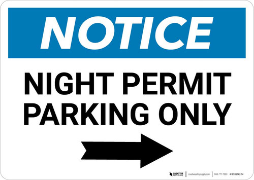 Notice: Night Permit Parking Only with Right Arrow Landscape