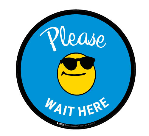 Please Wait Here with Sunglasses Emoji - Blue - Floor Sign