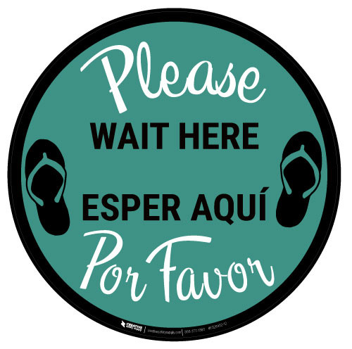 Please Wait Here Bilingual with Icons - Green - Floor Sign