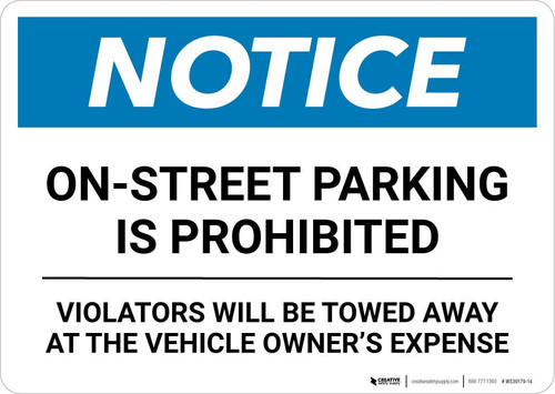 Notice: On-Street Parking Prohibited Landscape