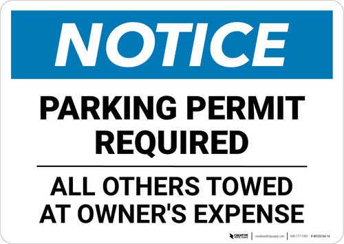 Notice: Parking Permit Required - All Others Towed Landscape