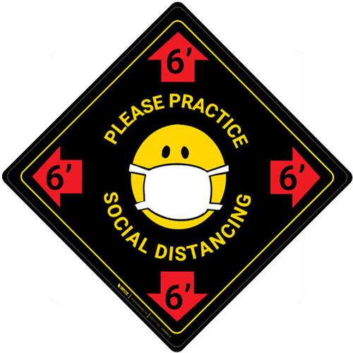 Please Practice Social Distancing with Facemask Emoji - Black - Floor Sign