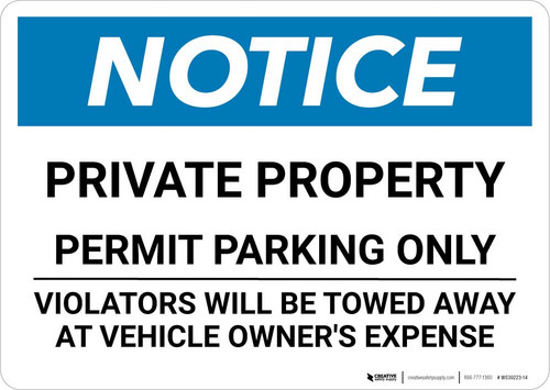 Notice: Private Parking - Permit Parking Only - Violators Will Be Towed Landscape