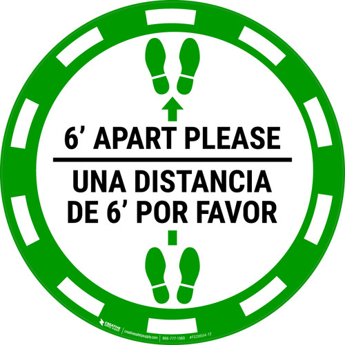6 Ft Apart Please Una Distancia de 6 ft Por Favor - Casino Green - Floor Sign