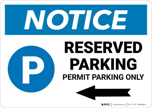 Notice: Reserved Parking - Permit Parking Only with Left Arrow Landscape