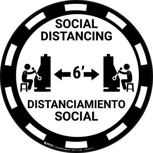 Social Distancing - Bilingual - Casino Black - Floor Sign