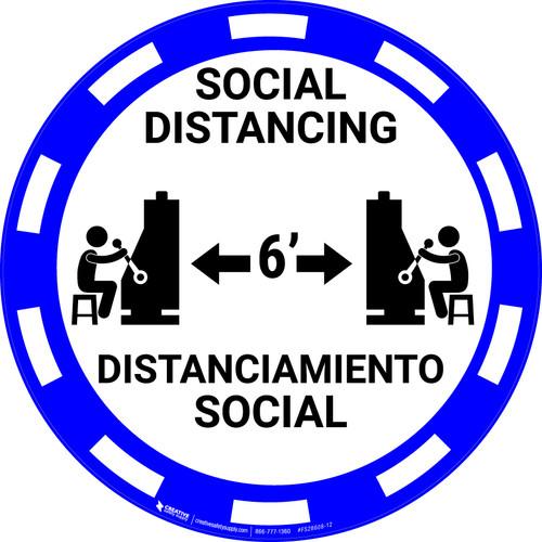 Social Distancing Bilingual - Casino Blue - Floor Sign