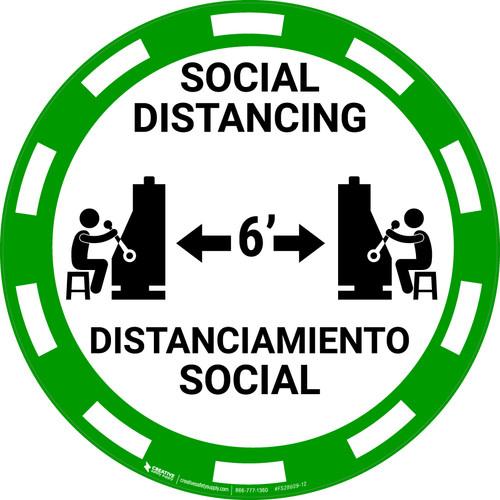 Social Distancing Bilingual - Casino Green - Floor Sign
