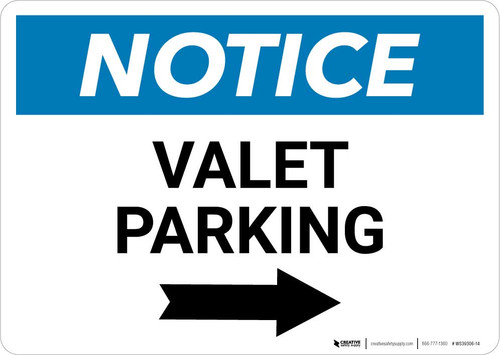 Notice: Valet Parking with Right Arrow Landscape