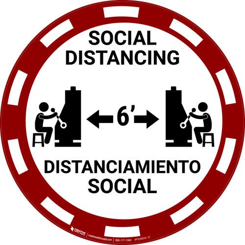 Social Distancing Bilingual - Casino Red - Floor Sign